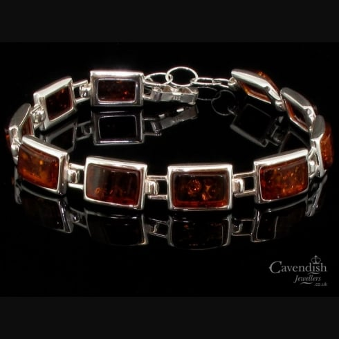 Divine Honey Amber Rectangle Link Bracelet