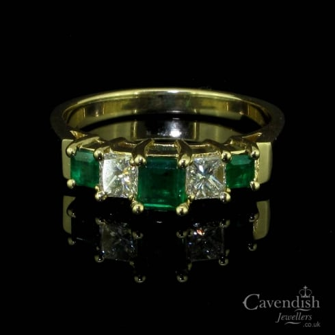 Divine Yellow Gold, Emerald & Diamond Stepped 5 Stone Ring