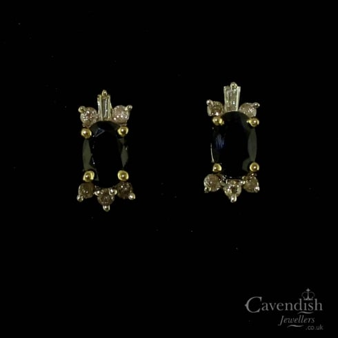 Divine Yellow Gold, Sapphire And Diamond Stud Earrings