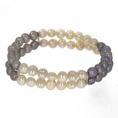 Double Row Two Tone Pearl Bracelet