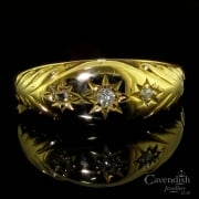 Edwardian 18ct Gold Diamond Gypsy Set Ring