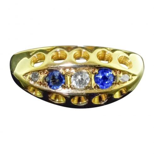 Edwardian 18ct Gold Sapphire And Diamond 5 Stone Ring