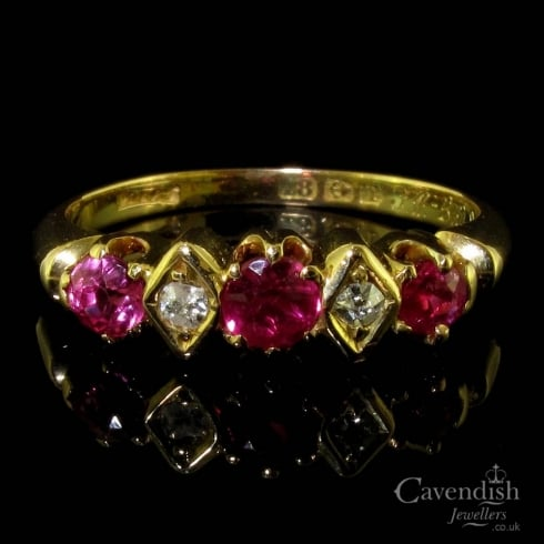 Edwardian 18ct Yellow Gold Ruby And Diamond 5 Stone Ring