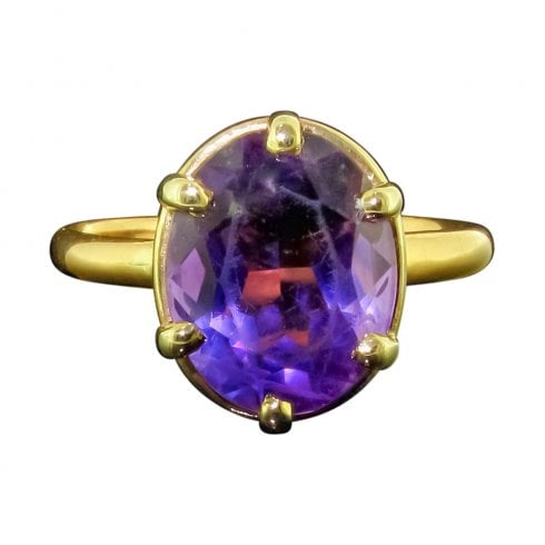 Edwardian 22ct Gold Amethyst Solitaire Ring