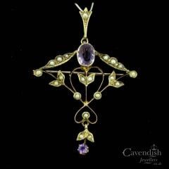 Edwardian 9ct Seed Pearl And Amethyst Pendant Brooch