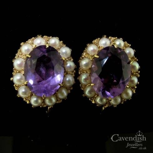 Edwardian Gold Amethyst & Pearl Screw Back Earrings