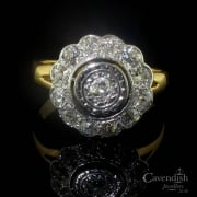 Edwardian Gold Diamond Halo Cluster Ring