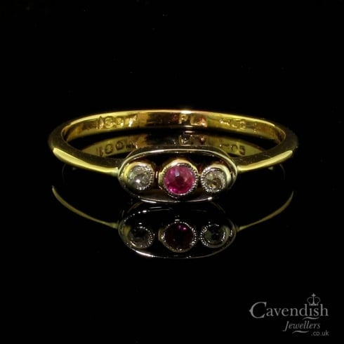 Edwardian Gold & Platinum Ruby & Diamond Three Stone Ring
