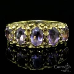 Elaborate 9ct Gold Five Stone Amethyst Ring
