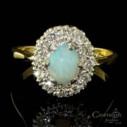 Elegant 18ct Gold, Platinum, Opal And Diamond Cluster Ring