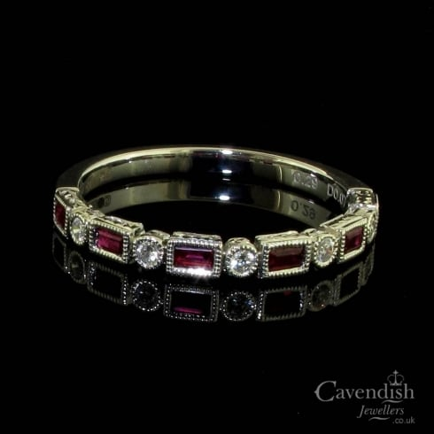 Elegant 18ct White Gold Ruby And Diamond Half Hoop Ring