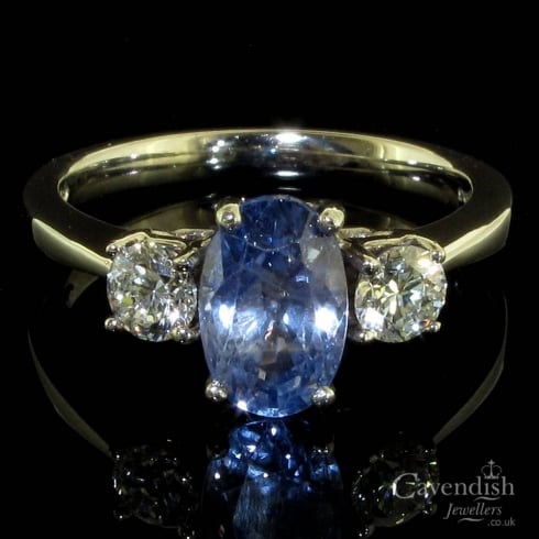 Elegant 18ct White Gold, Sapphire And Diamond Trilogy Ring