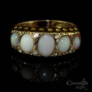 Elegant 9ct Gold, Cabochon Opal And Paste Ring