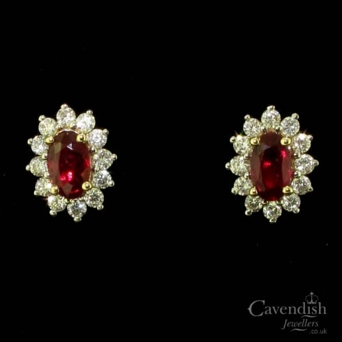 Elegant 9ct Gold, Ruby And Diamond Oval Cluster Stud Earrings