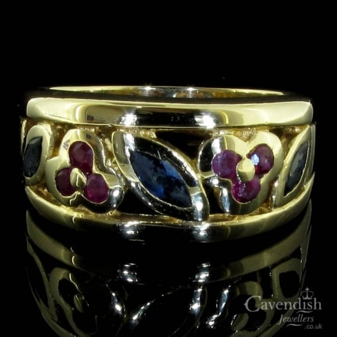 Elegant 9ct Gold Sapphire & Ruby Floral Ring