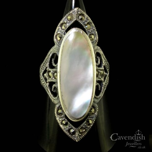 Elegant Silver Mother of Pearl and Marcasite Dress Ring