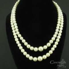 Elegant Two Row Cultured Pearl Graduated Necklace