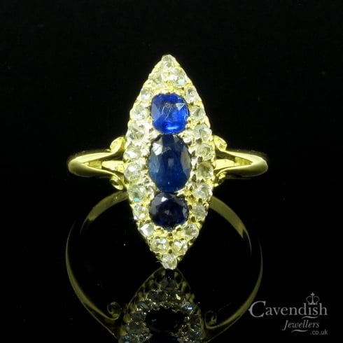 Enchanting 18ct Gold, Sapphire & Diamond Marquise Cluster Ring