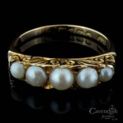 Enchanting 18ct Yellow Gold Cultured Pearl 5 Stone Ring
