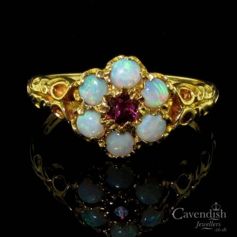 Enchanting 9ct Gold Opal & Ruby Daisy Cluster Ring