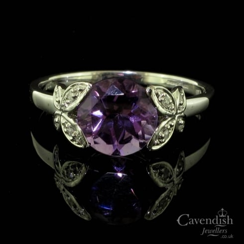 Enchanting 9ct White Gold, Amethyst And Diamond Fancy Dress Ring
