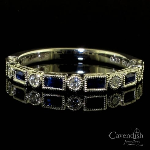 Enchanting 9ct White Gold Sapphire And Diamond Half Hoop Ring