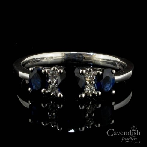Enchanting 9ct White Gold Sapphire And Diamond Three Stone Ring