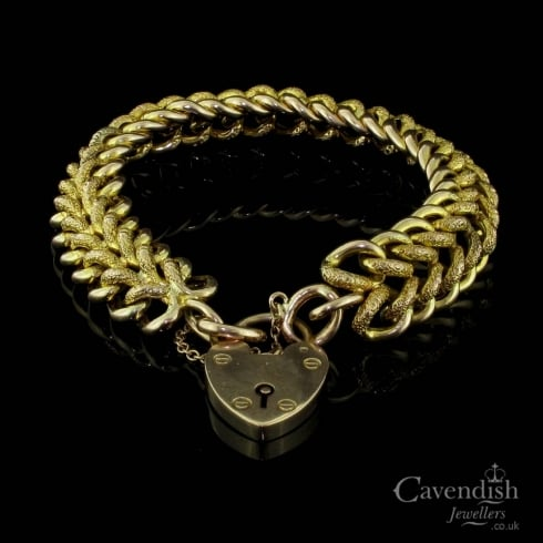 Enchanting Edwardian 9ct Gold Fancy Double Curb Link Bracelet
