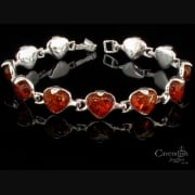 Enticing Honey Amber Heart Link Bracelet