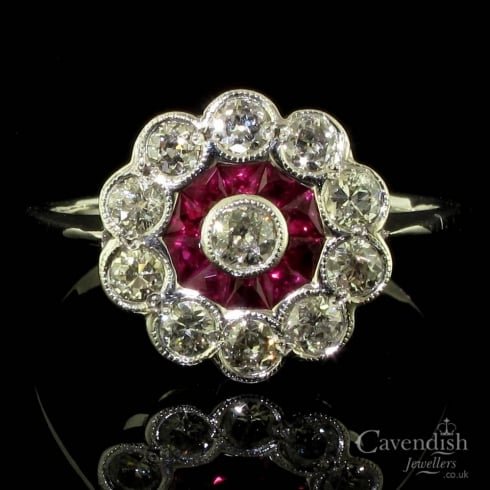 Enticing White Gold, Ruby And Old Cut Diamond Cluster Ring