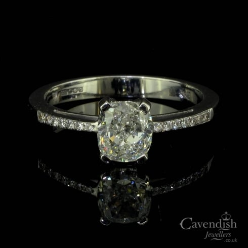 Excellent 18ct White Gold And Cushion Cut Diamond Solitaire Ring