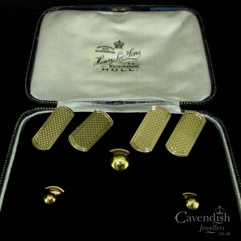 Excellent 9ct Gold, Early 20th Century Cufflink & Stud Set