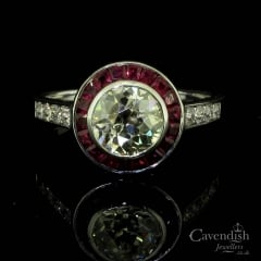 Exceptional Old Cut Diamond And French Cut Ruby Cluster Ring