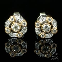 Exciting 18ct Rose & White Gold, Diamond Fancy Cluster Earrings