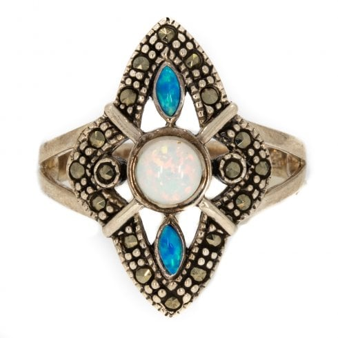 Exciting Silver Opal and Marcasite Dress Ring