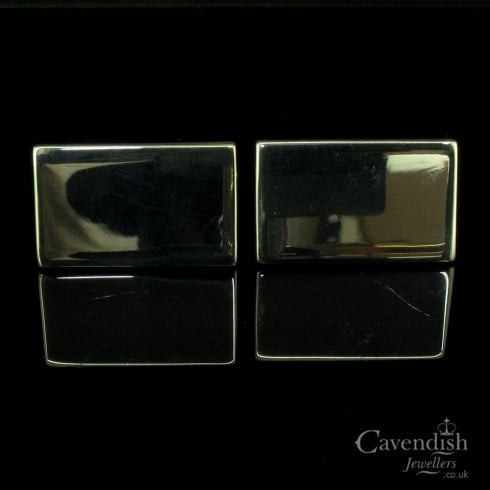 Excpetional Sterling Silver Rectangular Plain Cufflinks