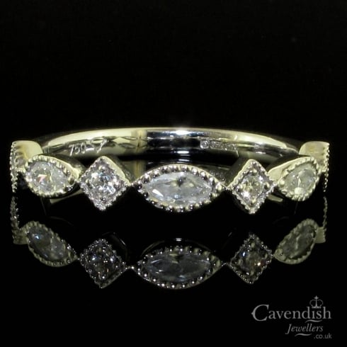Exquisite 18ct White Gold Diamond Half Hoop Milgrain Ring