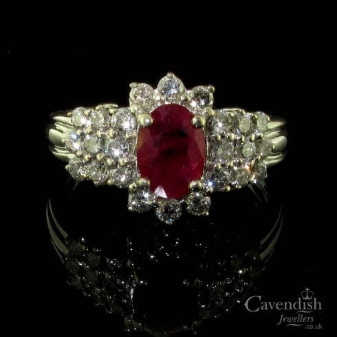 Exquisite 18ct White Gold Ruby & Diamond Cluster Ring