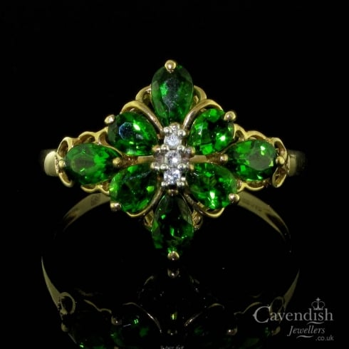 Exquisite 9ct Gold, Diopside & Diamond Fancy Cluster Ring