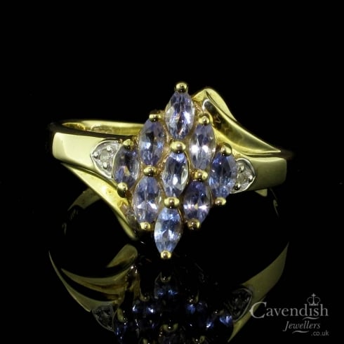 Exquisite 9ct Gold Tanzanite And Diamond Cluster Ring