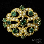 Exquisite 9ct Gold Tourmaline And Seed Pearl Brooch