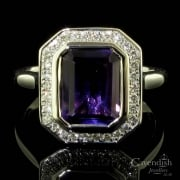 Exquisite 9ct White Gold, Amethyst And Diamond Cluster Ring