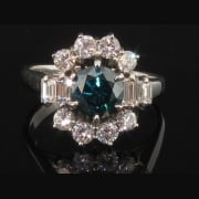 Exquisite White Gold Diamond Cluster Ring Circa 1950