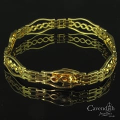 Exquisite Yellow Gold Fancy Link Gate Bracelet