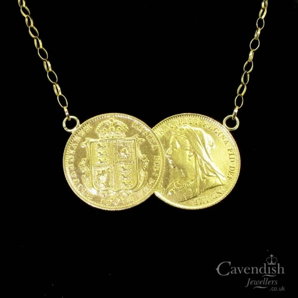 6f951bf009089 Eye Catching 22ct Gold Double Half Sovereign Necklace