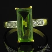 Eye Catching 9ct Gold, Peridot & Diamond Ring