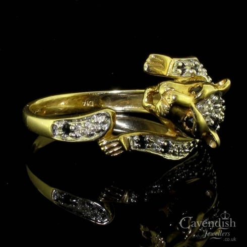 Eye-Catching 9ct Gold Sapphire & Diamond Leopard Ring