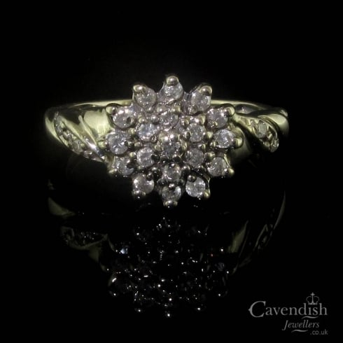 Eye-catching 9ct White Gold Diamond Cluster Ring