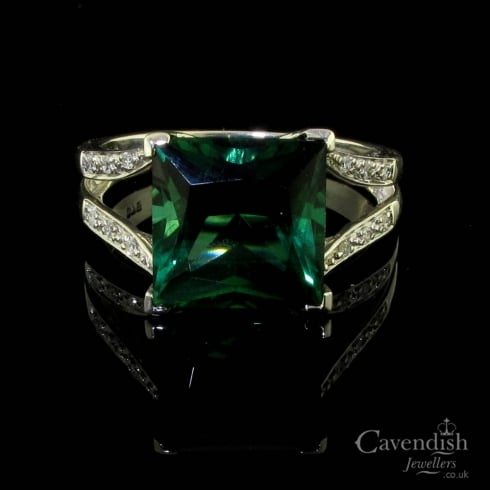 Eye-Catching 9ct White Gold Synthetic Tourmaline & Diamond Ring