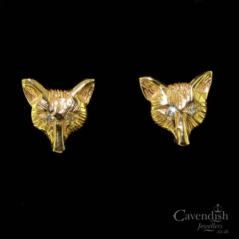 Eye-catching Gold & Diamond Fox Head Stud Earrings